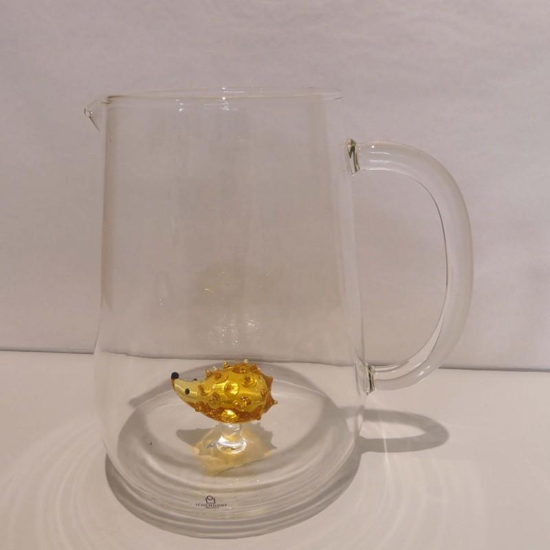 Pichet à eau Hérisson en verre duran