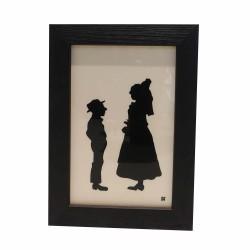 Cadre Silhouette couple d'enfant